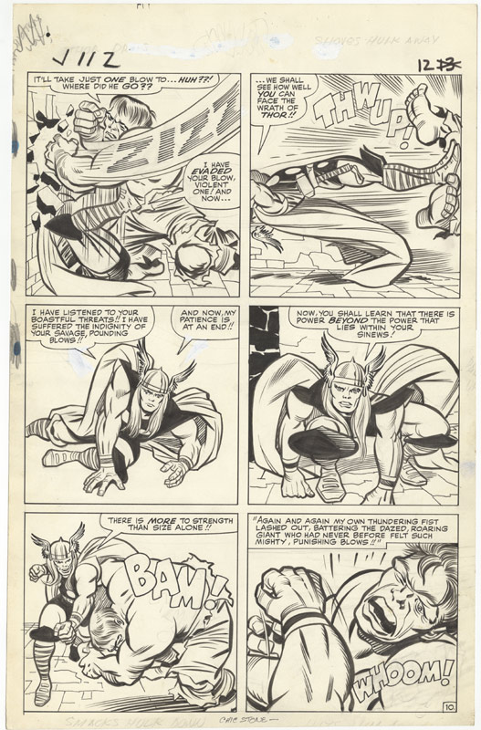 1964 - The Mighty Thor Battles The Incredible Hulk! - page 10 original art