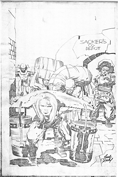 Kamandi In Yoke At Sacker's pencil art photocopy