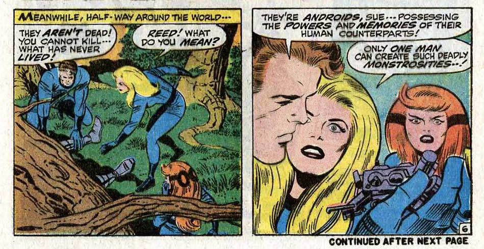 Panels from Fantastic Four #100 (July 1970). Reed erroneously states that only the Puppet Master is capable of making such androids, when he should've said it was the Thinker. Since they'd just done a Thinker story in FF #96, it's an even sloppier mistake.