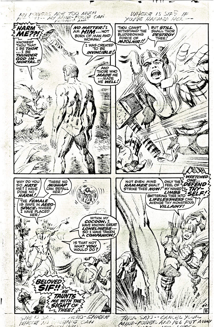 "Pencils from Astonishing Tales #166 (July 1969), featuring ""Him""; like the Silver Surfer, he was another character Jack felt was changed from the direction he had planned for the character."