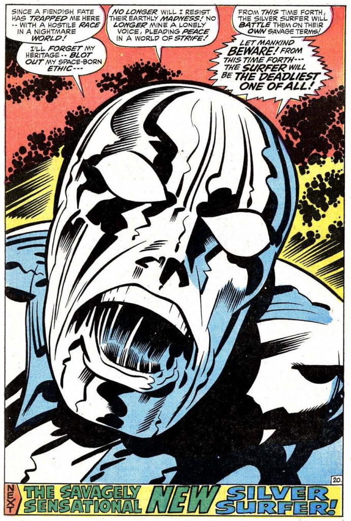 Final page from Silver Surfer #18, a book that must've been particularly galling for Jack to draw. Kirby was initially snubbed for the art chores on the book, and the series floundered for seventeen issues. Then Stan Lee called in Kirby to try to course-correct the book for inker Herb Trimpe to take over with #19, but the series was cancelled with this issue.