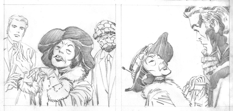 Two pencil panels with Kirby's original Agatha Harkness design.