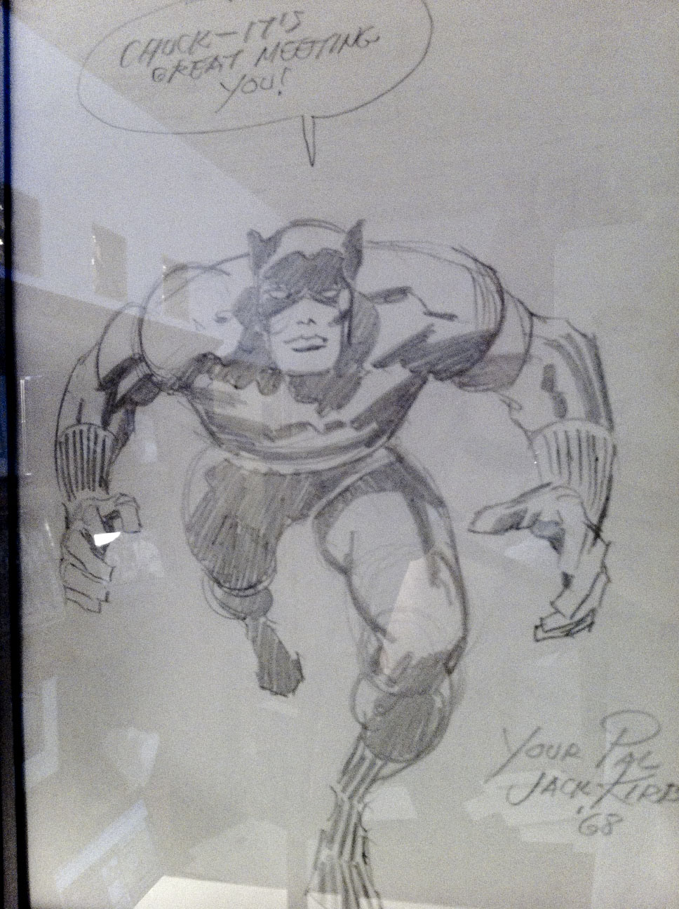 1968 Jack Kirby Black Panther pencil sketch given to Chuck Greaves.