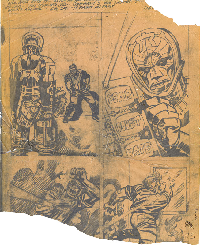 "VacuuStat(?) of Jack Kirby's pencil art for page 3 of ""Divide.. and Conquer!"" Fantastic Four Annual 5, 1967"
