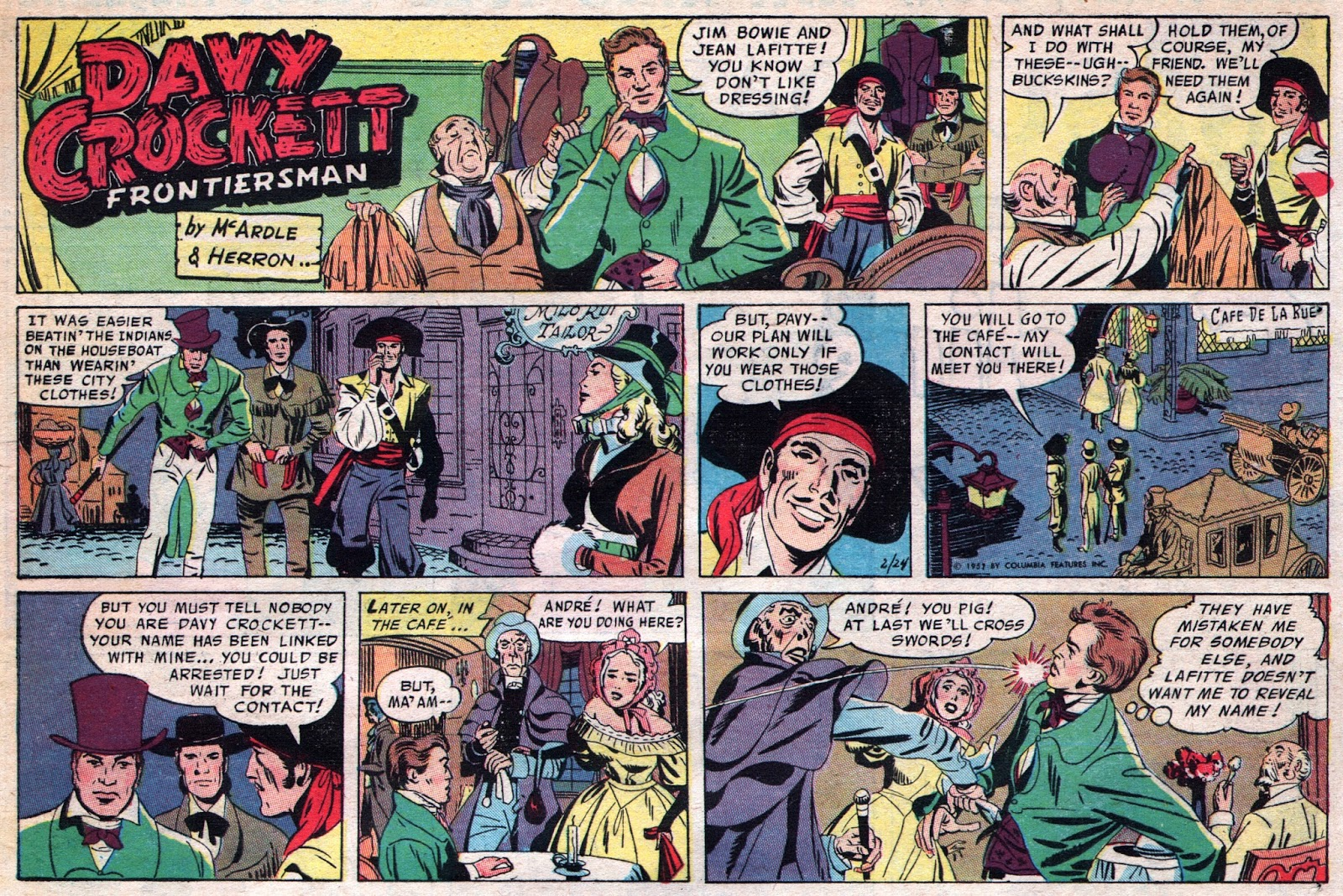 24 February 1957 Davy Crockett, Frontiersman Sunday strip