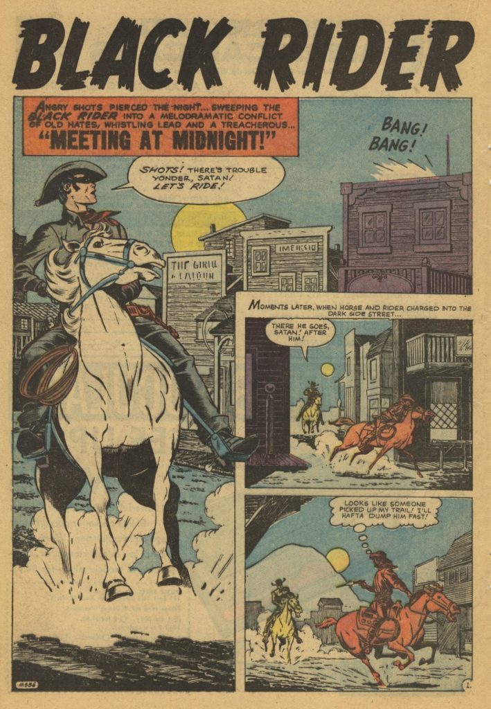 "a318032b appeared in Gunsmoke Western #51, dated March 1959, and the five page  ""Meeting at Midnight!"" appeared in Kid Colt, Outlaw #86, dated September  1959."