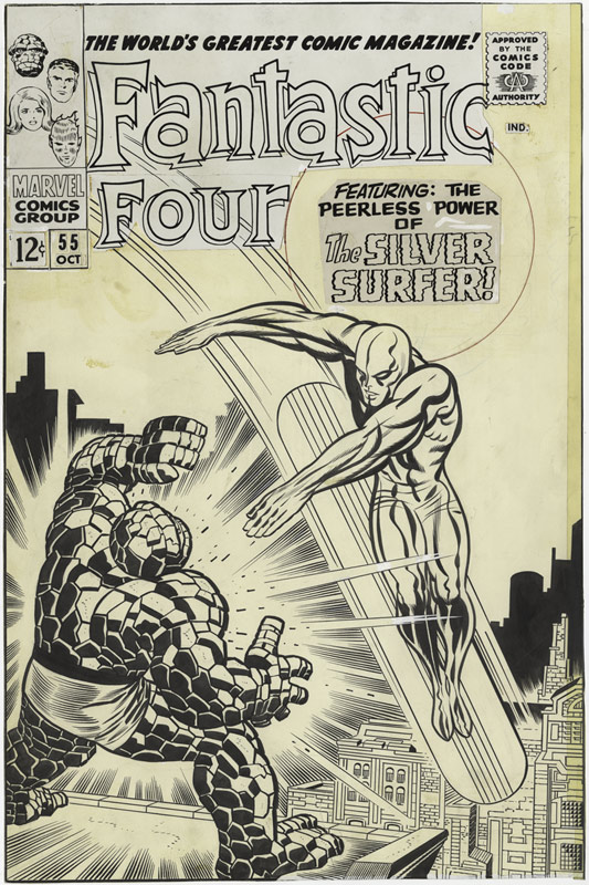 1966 - The Peerless Power of the Silver Surfer! cover original art